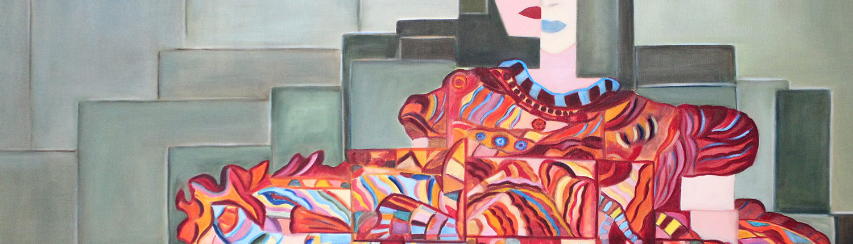 Peinture d'un portrait fragmenté de femme
