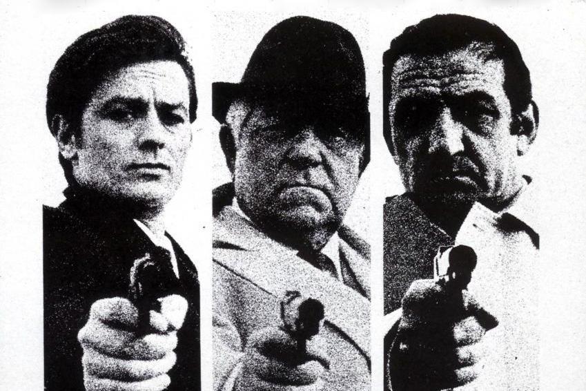 Photos de Delon, Gabin et Ventura extraites de l'affiche du film Le Clan des Siciliens