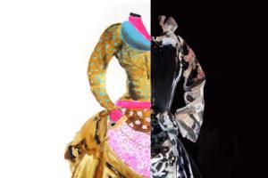 Une robe ancienne, mi-dessinée façon créateur, mi-stylisée avec des collages