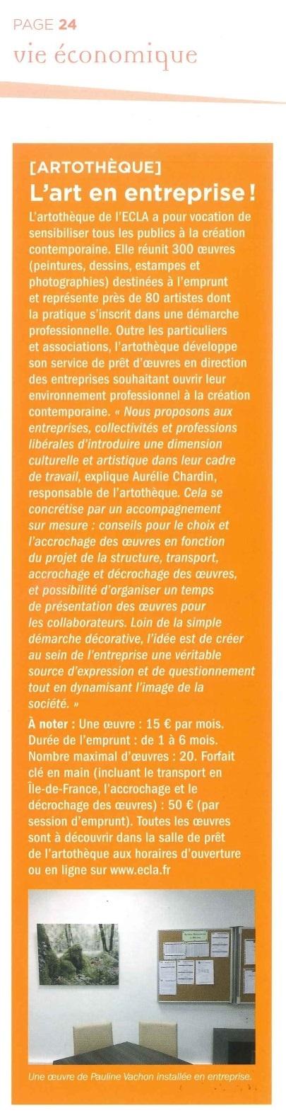 Article du Saint-Cloud Mag de février 2019 sur l'Artothèque