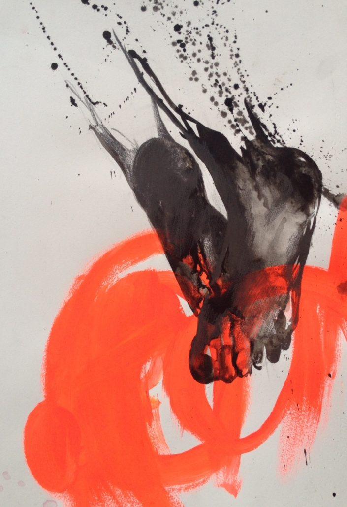 Sauter, 2013, technique mixte sur papier, 66 x 50 cm© Agnès Pezeu