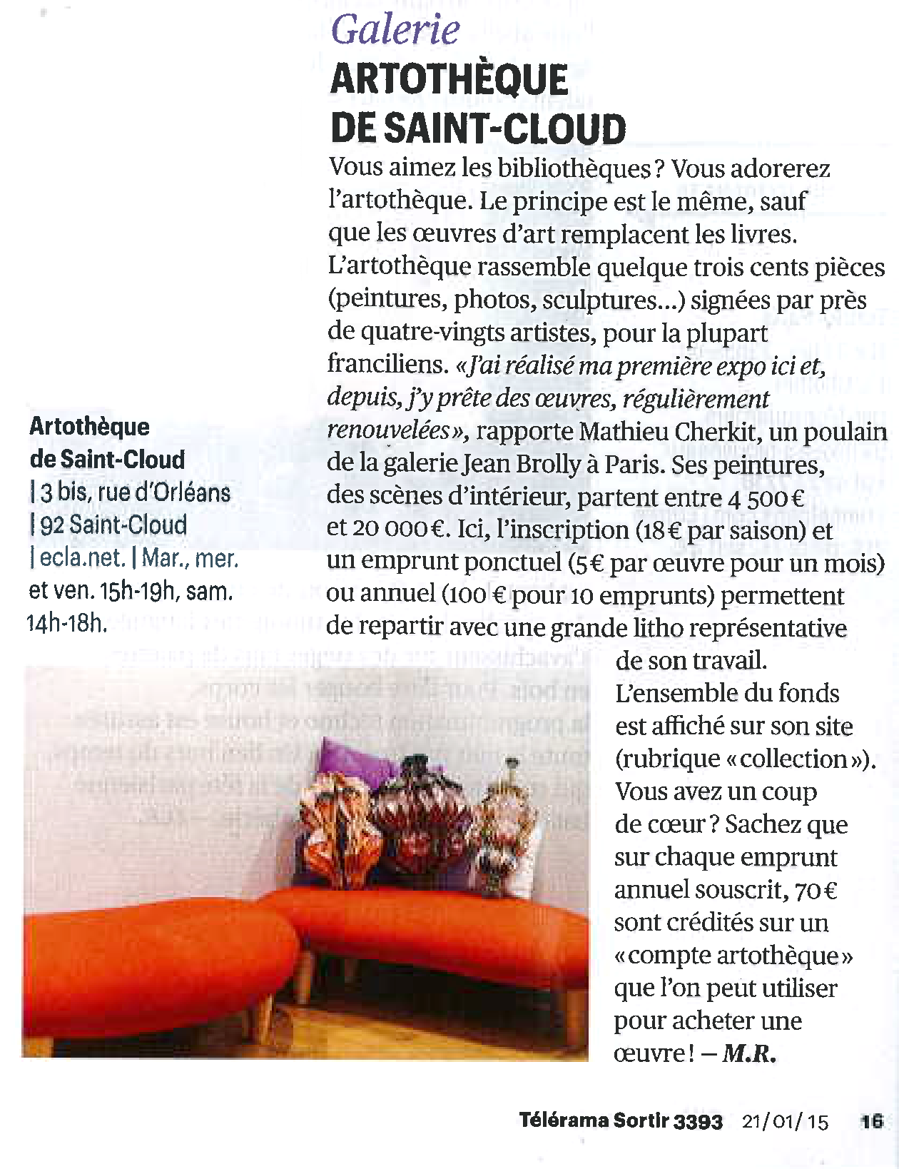 article Telerama Artotheque