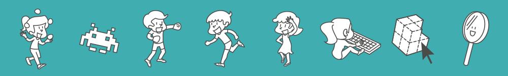 Illustrations de personnages et accessoires qui dansent, boxent, etc.