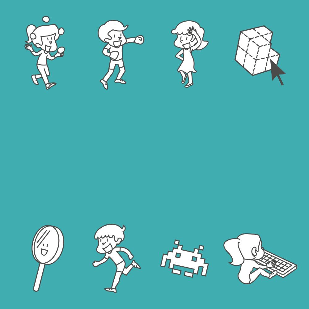Illustration de personnages et accessoires qui dansent, boxent, etc.
